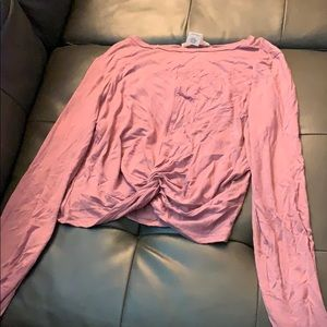 Pink long sleeved crop top size large